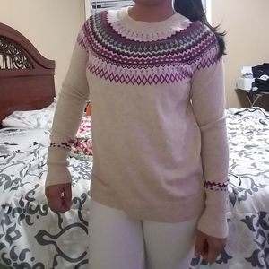 Crew neck jacquard pullover sweater!